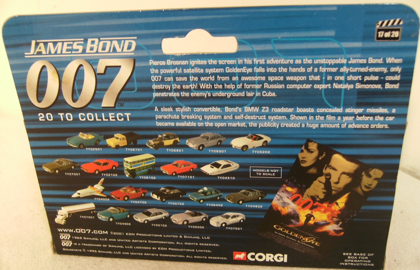 2002 Corgi James Bond 007 Goldeneye Bmw Z3 Boxed