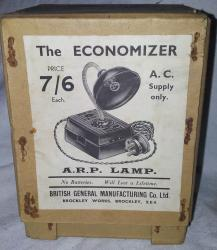original  ww11 arp bakelite economiser lamp , boxed and unused
