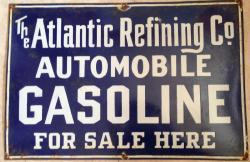 superb large Atlantic oil refinery petrol enamel sign