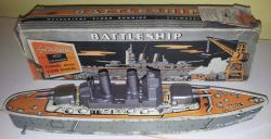 1960s mettoy tinplate sparking battleship, boxed