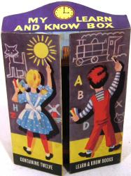 1960's 12 book look & learn classroom shaped boxed set.
