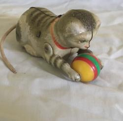 vintage German made tin plate cat with ball working