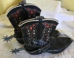 unusual vintage Childs leather cowboy boots with spurs
