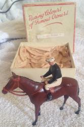 britains vintage lead racing colours horse & jockey , lord derby, boxed