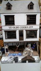large 4 storey cooks inn tudor dolls house +loads of furniture , dolls etc