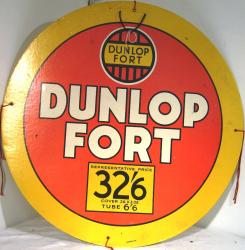 original c 1940's dunlop fort card advertising sign