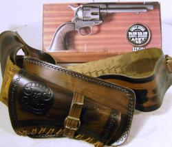 c1970's cased replica colt 45 cowboy gun + belt, holster and bullets