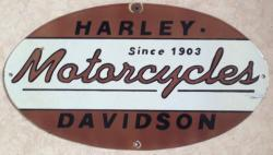 vintage post war Harley Davidson motorcycle enamel sign