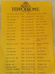 original 1970s Bristol hippodrome events flyer