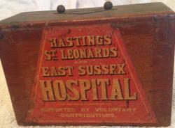 vintage wooden hastings east sussex hospital collection box