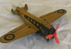 small 1950s tin plate c/w plane mettoy