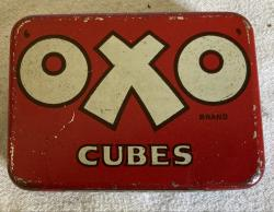 vintage oxo tin with 13 paper cube packets