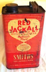 1950s smiths red jackall 1 gall oil can