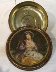 v. rare rountrees woman with child picture hanging tin