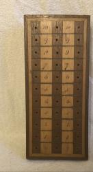 early victorian treen card game scorer with bone pegs