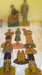 7 + 1 very rare 1930s hardboard scout advertising figures
