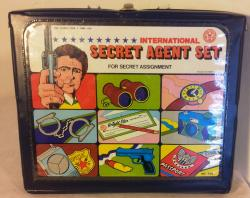 kitsch 1970s toy secret agent attache case set , complete