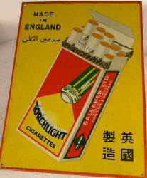 rare vintage torchlight cigarette tin advertising sign