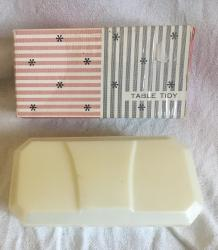 1960s boxed plastic table tidy brush