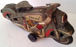 early 1950's tin plate friction military police motorcycle