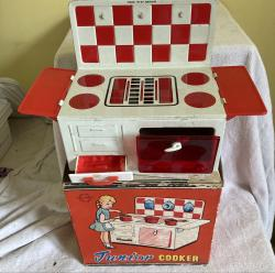 1950s  tin plate junior toy cooker boxed
