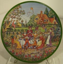 famous rare 1980 huntley and palmer ' rude' garden party ginger nuts tin.