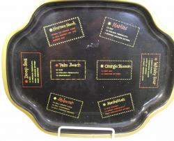 1950's black  metal cocktail serving tray