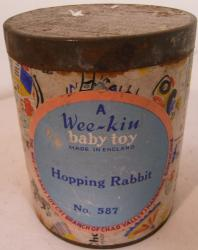 early chad valley wee kin wooden hopping rabbit in tin