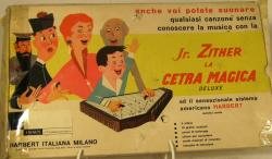 1960's italian bakelite toy zither boxed.