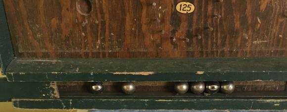 early large unusual wooden bagatelle game with balls