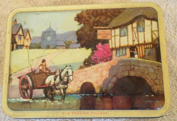 1960s barker dobson confectionary  tin english village