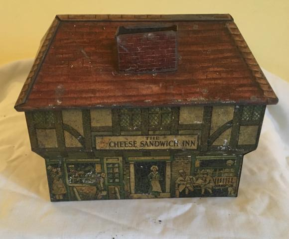 rare Edwardian wright and son cheese sandwich shop biscuit tin.