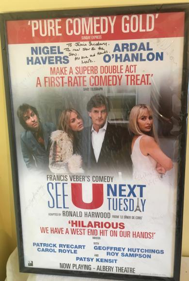 2003 signed west end theatre poster see you next Tuesday , Nigel havers