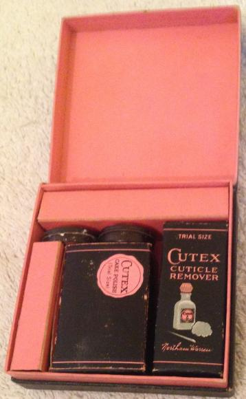 1950s pocket cutex compact manicure set complete