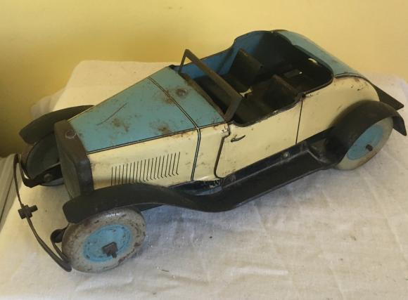 rare c1920s chad valley c/w tin plate touring car working.