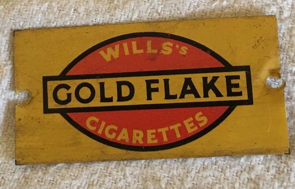 1930s hornby oo gauge gold flake tin platform sign