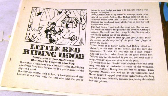 1972 little red riding hood play story book + characters