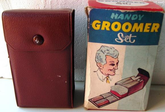 1960s kitsch mens grooming set cased & boxed