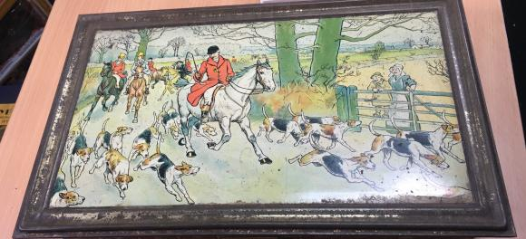 c1902 Huntley and palmer hunting biscuit tin.
