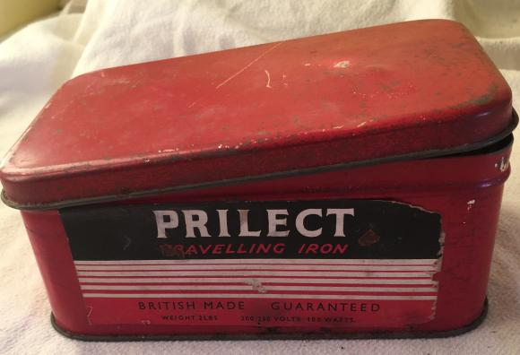 vintage prilect travelling iron, cased