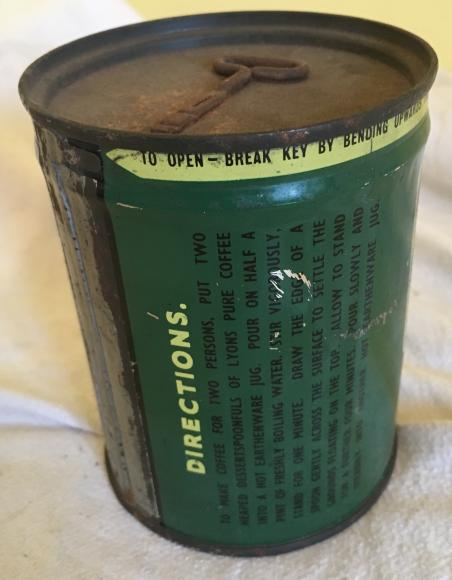 unopened vintage Lyons coffee tin