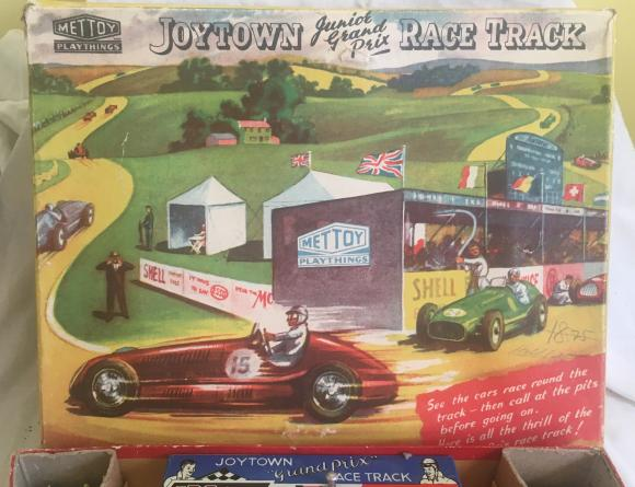 1950s mettoy joytown  junior grand prix tin plate racing set