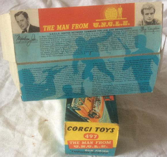 rare 1960s corgi man from uncle car in white, boxed
