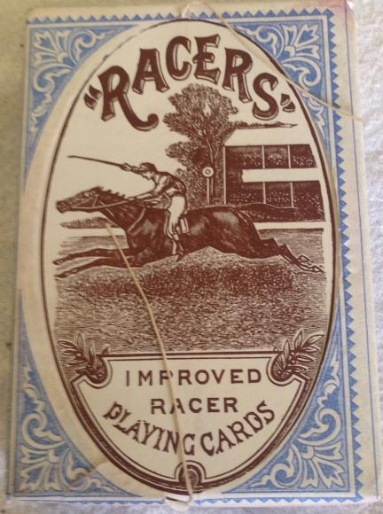very rare victorian pack of de la rue 'racer' playing cards, sealed and unopened