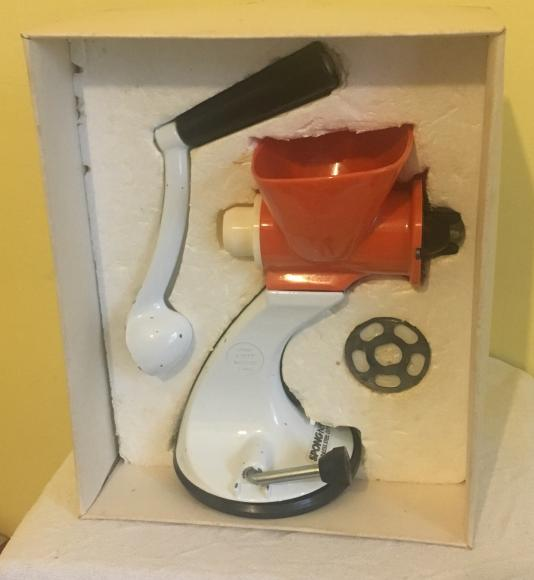 Unused 1970s Spong meat mincer boxed