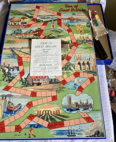 1950s chad valley tour of great britain board game , complete