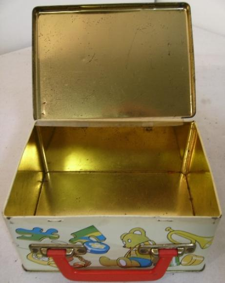 tin plate printed child toy box sandwich tin
