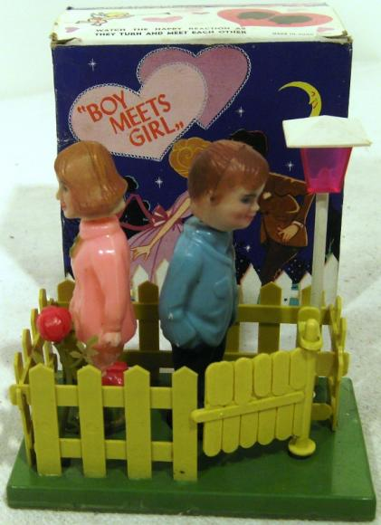 1970s Toys For Boys : S celluloid boy meets girl kissing toy boxed