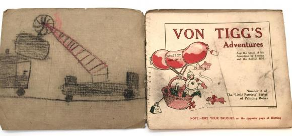 extremely rare ww1 childrens painting book Von Tigg's Aventures