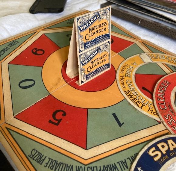 c1890 Watsons soap promotional 3d quoits game with hoops